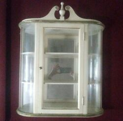 Antique Butler Wooden Curio Display Wall Cabinet Case 3 Tiers Glass Door RARE