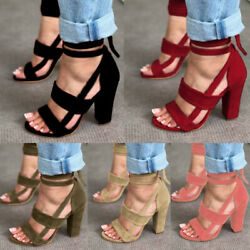 Womens High Block Heels Peep Toe Ankle Strappy Sandals Casual Lace Up Shoes Size