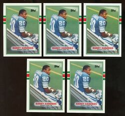 (5) 1989 Topps Traded BARRY SANDERS Rookie #83T Football Card Lot
