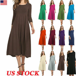 Women Long Sleeve Plains Midi Dress Casual Swing Skater Party Cocktail Dress US