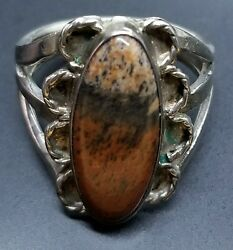 Vtg Native American PETRIFIED WOOD Sterling Silver Ring Size 6.75
