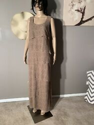 "Ramp;M Richards Size 12 Tan Tiered Lace Maxi Dress Length 59"" $15.00"
