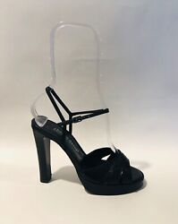 Charles David Black Leather Ankle Strap Platform Sandal ... 5.5M