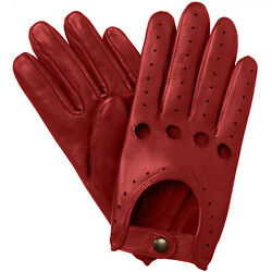 NEW MEN#x27;S CHAUFFEUR REAL LAMBSKIN SHEEP NAPPA LEATHER DRIVING GLOVES RED $18.00