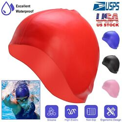 Adult Swim Cap Silicone Swimming Hat With Ear Pockets For Men Long Hair Women $8.01