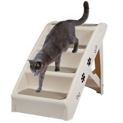 Small Doggie Ramp Pet Steps for High Beds Couch Sofa Folding Plastic MAC 100LBS $25.99