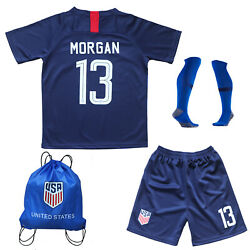 USA Alex Morgan #13 Kids Blue Home Soccer Jersey & Shorts Socks Youth Sizes