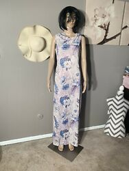 "Custom Made Floral Maxi Dress Length 57"" Armpit 18"" Size M $10.00"