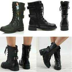 Womens Combat Military Boots Lace Up Zipper New Women Vintage Punk Booties Shoes