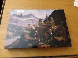 """Vintage MB Frontier Days 500pc Puzzle """"Lord of the Rockies """" 1990 Sealed $4.88"""