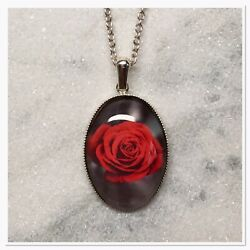 Gothic Red Rose Necklace Handmade Jewellery