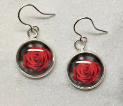 Gothic Red Rose Earrings Flower Jewellery