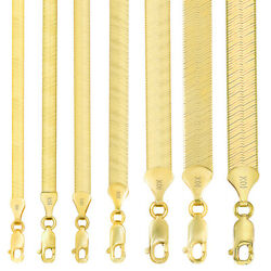 10K Yellow Gold Solid 3mm-9mm High Polish Silk Herringbone Chain Necklace 16-30