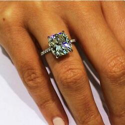 4 carat Cushion Cut Solitaire Engagement Wedding Ring 14k White Gold Size 4-12