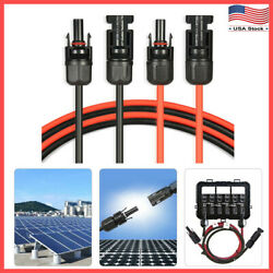 1 Pair Black + Red Solar Panel Extension Cable Wire with Connector 10 AWG12 AWG $41.99