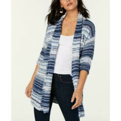 Style Co Womens Size 2XL Blue White Striped Open Front Cardigan Sweater NWT
