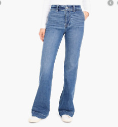 J Crew 25T 25 Tall Jeans Blue Dark Wash Boot Cut Trouser Denim Stretch Womens $35.39
