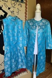 60's Style Turquoise & Silver True Vintage Dress & Coat SZ Small Costume Theater