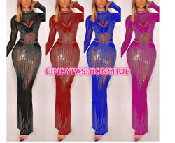 Women Perspective Mesh Rhinestone Long Sleeve Spliced Party Fromal Maxi Dresses $45.88