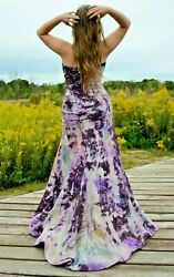 Silk Bohemian Wedding Dress formal Gown Blue purple black 4 6 8 10 ivory grey M