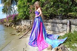 New Bohemian Wedding Dress Pink Blue white purple 2 4 6 8 10 bow train tie dyed
