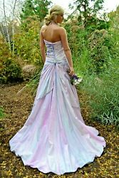 NEW Silk Beach Bohemian Wedding Dress formal Gown Blue white navy train 6 8 10