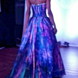 NEW Bohemian Wedding Dress Silk Corset gown Blue Pink Purple Medium tie dyed L M