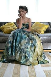 NEW Silk Wedding Dress Bohemian ball gown green navy Blue gold black small dyed