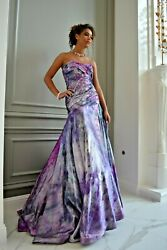 NEW Silk Bohemian Wedding dress Renella De Fina purple gray white corset 8 10