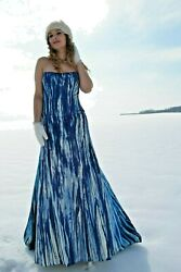 Monique Lhuillier Silk Bohemian Wedding Dress formal Gown Blue white navy 6 8 10