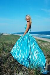 Bohemian Style  Beach Wedding Dress Silk Serenity Blue White corset 2 4 6 8