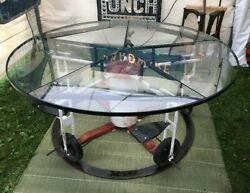 Vintage Glass Top Table Child's Playground Ride Base Delivery Available $6,800.00