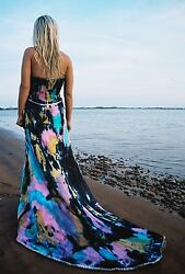 Bohemian Silk Beach Wedding Dress Resort Gown Blue Purple Black Train 4 6 8