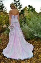 Bohemian Beach Wedding Dress Silk Pink blush White purple  6 8 M corset Jasmine
