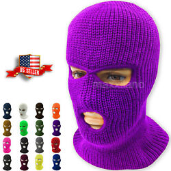 Face Mask Ski Mask Winter Cap 3 Hole Balaclava Beanie Hat Hood Tactical Warm Men $7.94