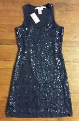 NEW $98 Max Studio XS Dress Sequin Mesh Sleeve Cocktail Formal Party Black P240 $34.99
