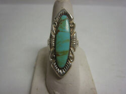 Vintage Sterling Turquoise Ring Gorgeous Design Size 7 34