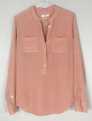 Equipment Femme Signature Washed Silk Shirt Sz S Half Button Peach Striped