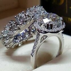 2pcsset 925 Silver Women Rings White Sapphire Wedding Engagement Ring Size 6-10