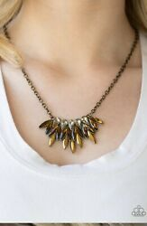 Paparazzi Jewelry CROWN COUTURE Brass Necklace & Earrings Set NEW
