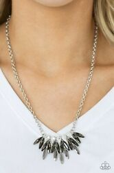 Paparazzi Jewelry CROWN COUTURE Silver Necklace & Earrings Set NEW
