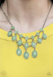 Paparazzi Jewelry MERMAID MARMALADE Green Silver Necklace & Earrings Set NEW