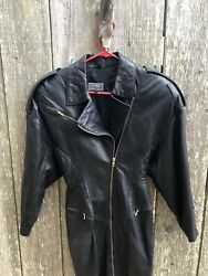VTG Womens MICHAEL HOBAN North Beach Leather Black Motorcycle Jacket Dress XS