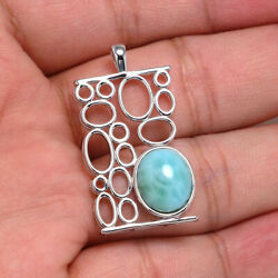 New 925 Sterling Silver Natural Dominican Larimar Gemstones Pendant Necklace 18