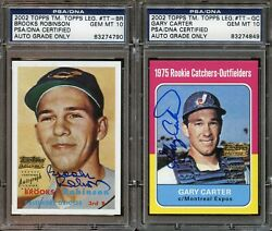 (2)2002 Topps Legends Brooks ROBINSON & Gary CARTER Autograph PSADNA 10 GemMint