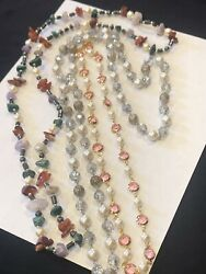 VINTAGE LOT OF 3 QUALITY NECKLACE FAUX PEARL BEZEL SET RHINESTONE CRYSTAL