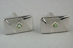 Sarah Coventry Aristocrat Cufflinks March Birthstone in Silvertone New Old Stock $7.00