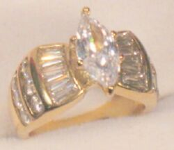 3.50 Ct Marquise cut Solitaire Diamond Engagement Ring Yellow Gold ov Size 6