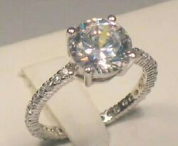 3.25 Ct Round Diamond Solitaire Engagement Ring Eternity band White gold ov Sz 8