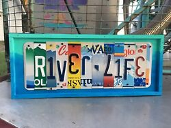 River Life Sign Housewarming Gift Cabin Decor Colorful Art Sign River House